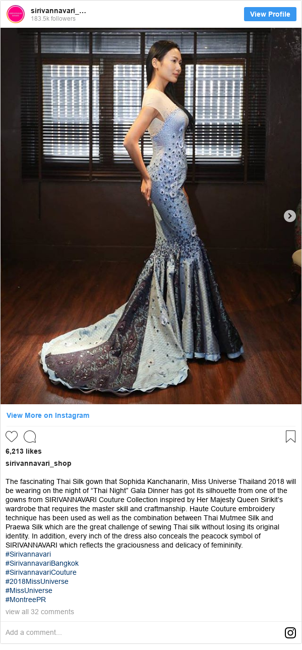 "Instagram โพสต์โดย sirivannavari_shop: The fascinating Thai Silk gown that Sophida Kanchanarin, Miss Universe Thailand 2018 will be wearing on the night of ""Thai Night"" Gala Dinner has got its silhouette from one of the gowns from SIRIVANNAVARI Couture Collection inspired by Her Majesty Queen Sirikit's wardrobe that requires the master skill and craftmanship. Haute Couture embroidery technique has been used as well as the combination between Thai Mutmee Silk and Praewa Silk which are the great challenge of sewing Thai silk without losing its original identity. In addition, every inch of the dress also conceals the peacock symbol of SIRIVANNAVARI which reflects the graciousness and delicacy of femininity.  #Sirivannavari #SirivannavariBangkok #SirivannavariCouture #2018MissUniverse #MissUniverse #MontreePR"
