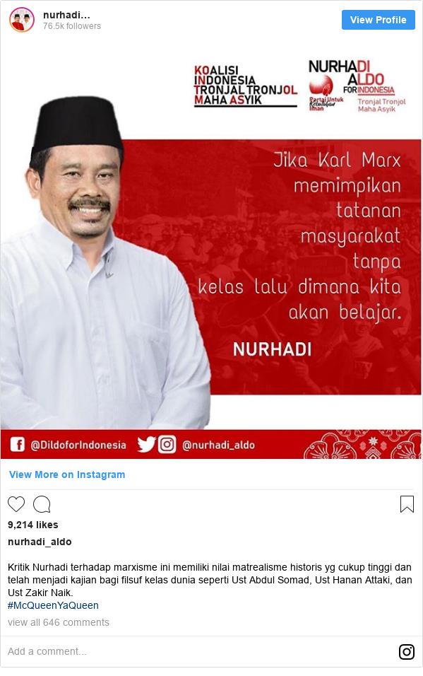 Instagram pesan oleh nurhadi_aldo: Kritik Nurhadi terhadap marxisme ini memiliki nilai matrealisme historis yg cukup tinggi dan telah menjadi kajian bagi filsuf kelas dunia seperti Ust Abdul Somad, Ust Hanan Attaki, dan Ust Zakir Naik.  #McQueenYaQueen