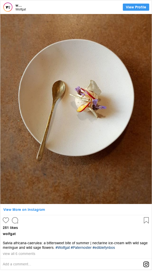 Instagram post by wolfgat: Salvia africana-caerulea  a bittersweet bite of summer | nectarine ice-cream with wild sage meringue and wild sage flowers. #Wolfgat #Paternoster #ediblefynbos