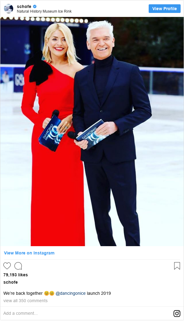 Instagram post by schofe: We're back together 😊😊 @dancingonice launch 2019