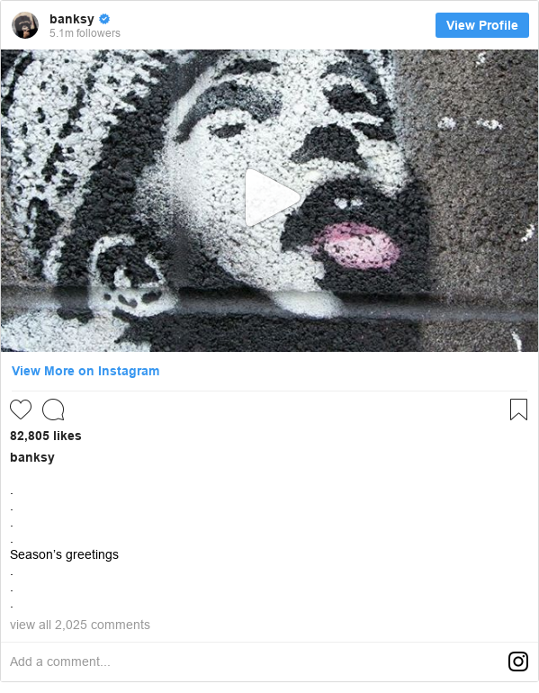 Instagram post by banksy: . . . . Season's greetings . . .