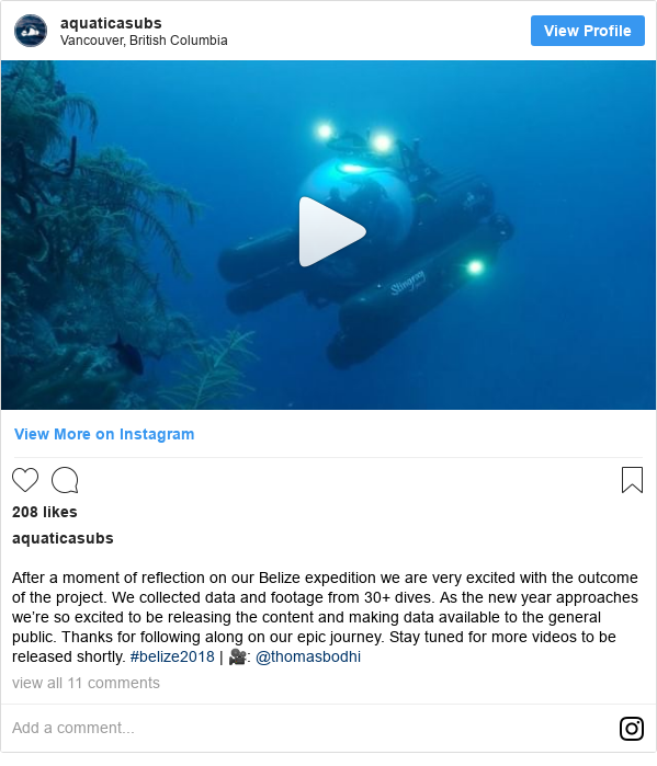 Publicación de Instagram por aquaticasubs: After a moment of reflection on our Belize expedition we are very excited with the outcome of the project. We collected data and footage from 30+ dives. As the new year approaches we're so excited to be releasing the content and making data available to the general public. Thanks for following along on our epic journey. Stay tuned for more videos to be released shortly. #belize2018 | 🎥  @thomasbodhi