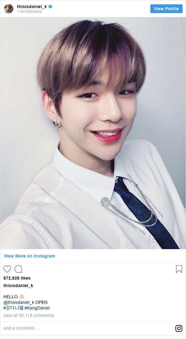 Instagram post by thisisdaniel_k: HELLO 👋🏻 @thisisdaniel_k OPEN #강다니엘 #KangDaniel