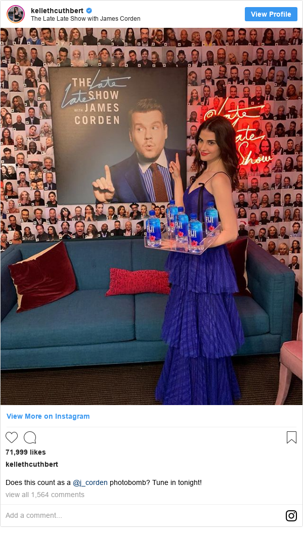 انستاغرام رسالة بعث بها kellethcuthbert: Does this count as a @j_corden photobomb? Tune in tonight!