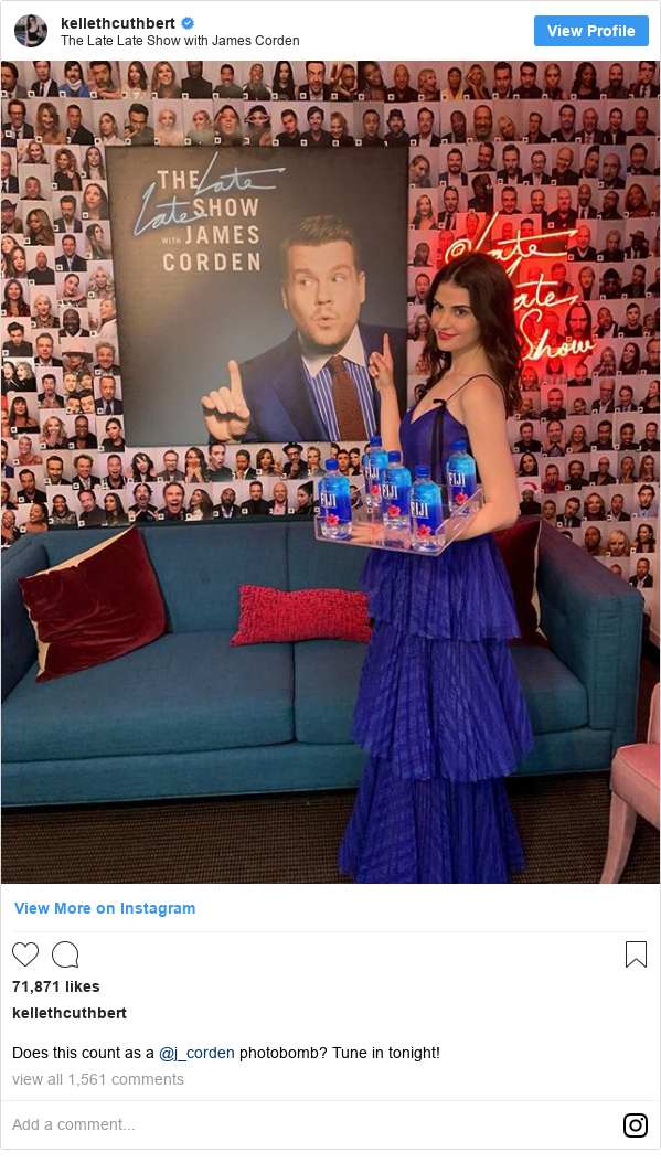 Instagram post by kellethcuthbert: Does this count as a @j_corden photobomb? Tune in tonight!