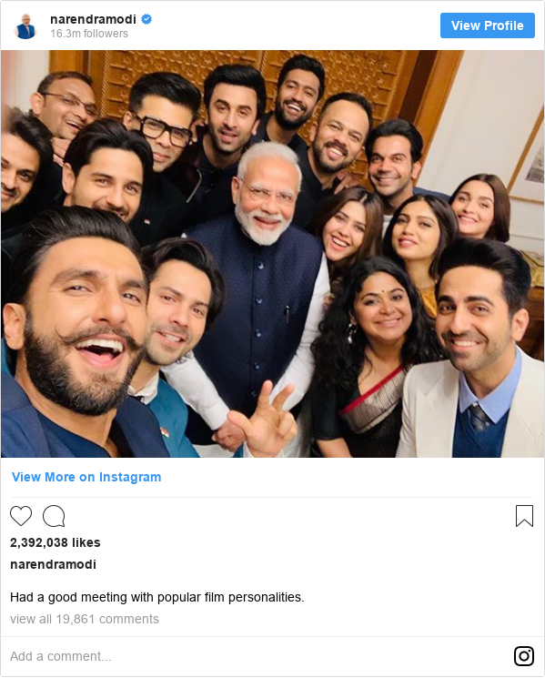 Instagram post by narendramodi: Had a good meeting with popular film personalities.