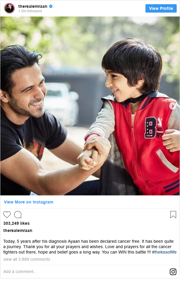 इंस्टाग्राम पोस्ट therealemraan: Today, 5 years after his diagnosis Ayaan has been declared cancer free. It has been quite a journey. Thank you for all your prayers and wishes. Love and prayers for all the cancer fighters out there, hope and belief goes a long way. You can WIN this battle !!! #thekissoflife