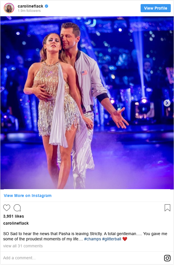 Instagram post by carolineflack: SO Sad to hear the news that Pasha is leaving Strictly. A total gentleman..... You gave me some of the proudest moments of my life.... #champs #glitterball ❤️