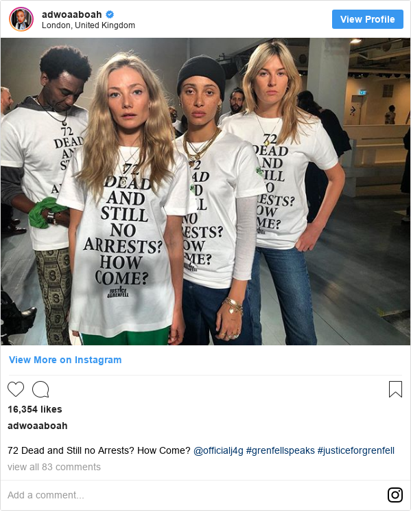 Instagram post by adwoaaboah: 72 Dead and Still no Arrests? How Come? @officialj4g #grenfellspeaks #justiceforgrenfell
