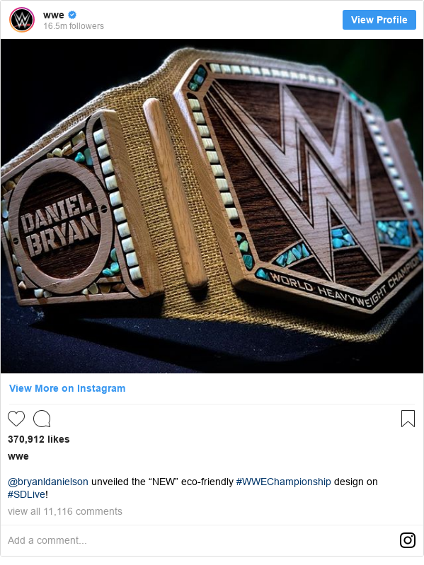 """Instagram post by wwe: @bryanldanielson unveiled the """"NEW"""" eco-friendly #WWEChampionship design on #SDLive!"""