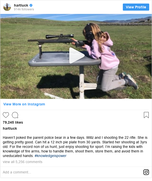 Instagram post by hartluck: Haven't poked the parent police bear in a few days. Willz and I shooting the 22 rifle. She is getting pretty good. Can hit a 12 inch pie plate from 30 yards. Started her shooting at 3yrs old. For the record non of us hunt, just enjoy shooting for sport. I'm raising the kids with knowledge of fire arms, how to handle them, shoot them, store them, and avoid them in uneducated hands. #knowledgeispower