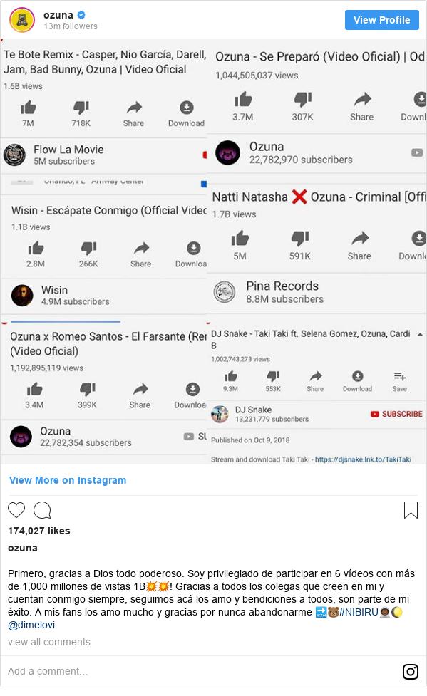Publicación de Instagram por ozuna: Primero, gracias a Dios todo poderoso. Soy privilegiado de participar en 6 vídeos con más de 1,000 millones de vistas 1B💥💥! Gracias a todos los colegas que creen en mi y cuentan conmigo siempre, seguimos acá los amo y bendiciones a todos, son parte de mi éxito. A mis fans los amo mucho y gracias por nunca abandonarme 🔜🐻#NIBIRU👨🏾🚀🌔 @dimelovi