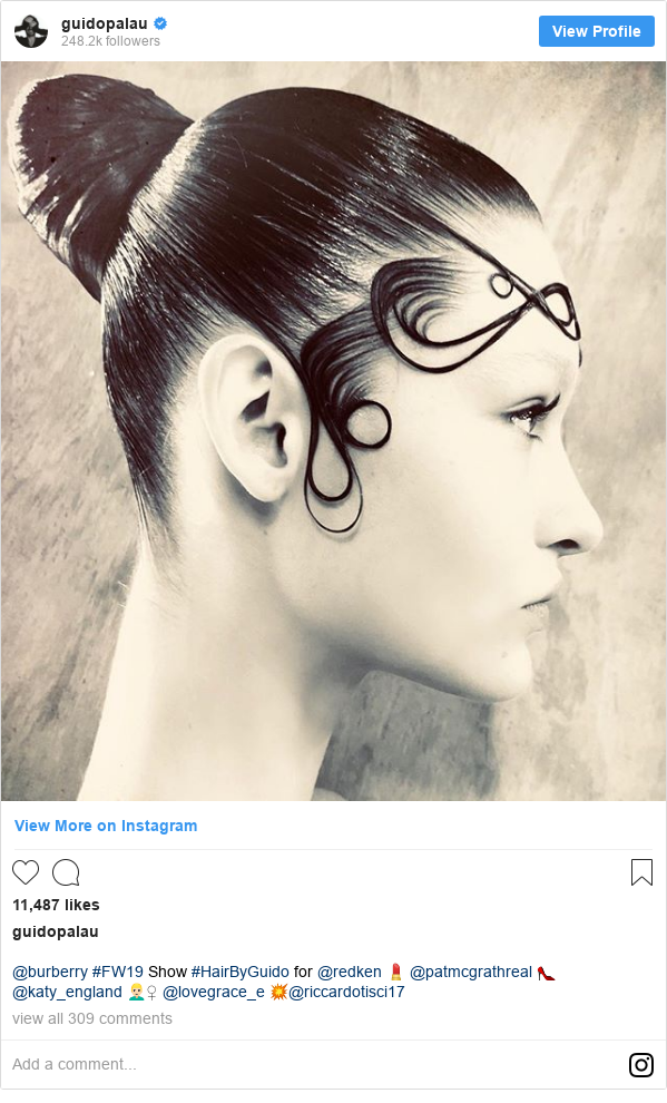 Instagram post by guidopalau: @burberry #FW19 Show #HairByGuido for @redken 💄 @patmcgrathreal 👠 @katy_england 👱🏻♀️ @lovegrace_e 💥@riccardotisci17