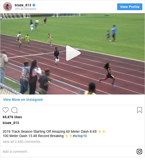 blaze_813 tarafından yapılan Instagram paylaşımı: 2019 Track Season Starting Off Amazing 60 Meter Dash 8.69 ⚡️⚡️ 100 Meter Dash 13.48 Record Breaking ⚡️⚡️#sctop10