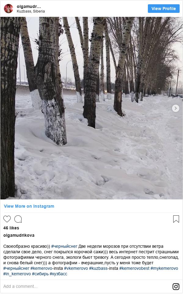 Instagram пост, автор: olgamudrikova: Своеобразно красиво)) #черныйснег Две недели морозов при отсутствии ветра сделали свое дело, снег покрылся корочкой сажи))) весь интернет пестрит страшными фотографиями черного снега, экологи бьют тревогу. А сегодня просто тепло,снегопад, и снова белый снег))) а фотографии - вчерашние,пусть у меня тоже будет #черныйснег #kemerovo-insta #vkemerovo #kuzbass-insta #kemerovobest #mykemerovo #in_kemerovo #сибирь#кузбасс
