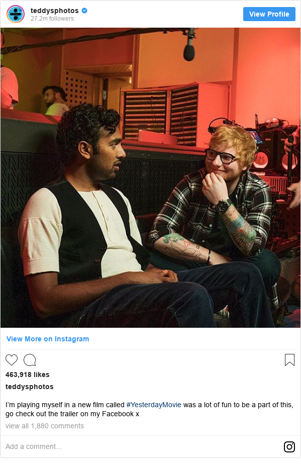 Instagram post by teddysphotos: I'm playing myself in a new film called #YesterdayMovie was a lot of fun to be a part of this, go check out the trailer on my Facebook x