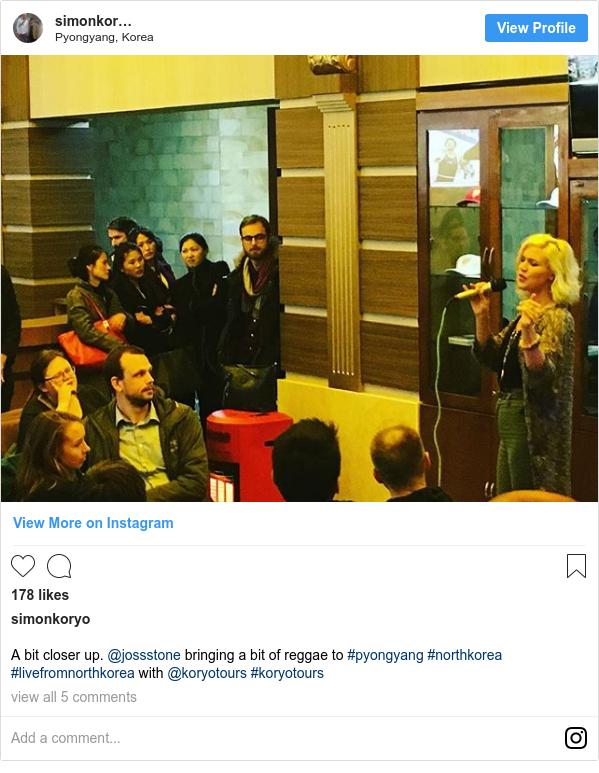 Instagram post by simonkoryo: A bit closer up. @jossstone bringing a bit of reggae to #pyongyang #northkorea #livefromnorthkorea with @koryotours #koryotours