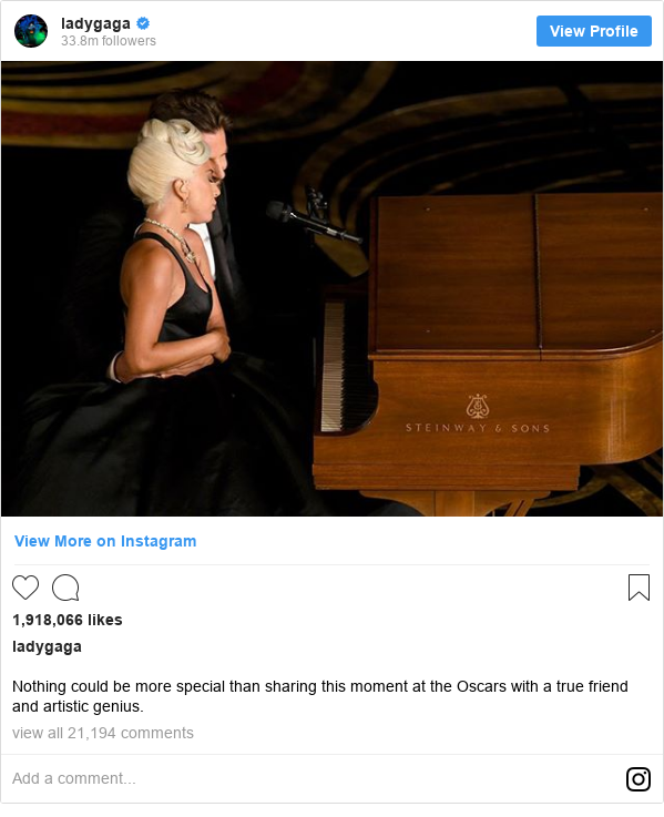 Instagram post by ladygaga: Nothing could be more special than sharing this moment at the Oscars with a true friend and artistic genius.