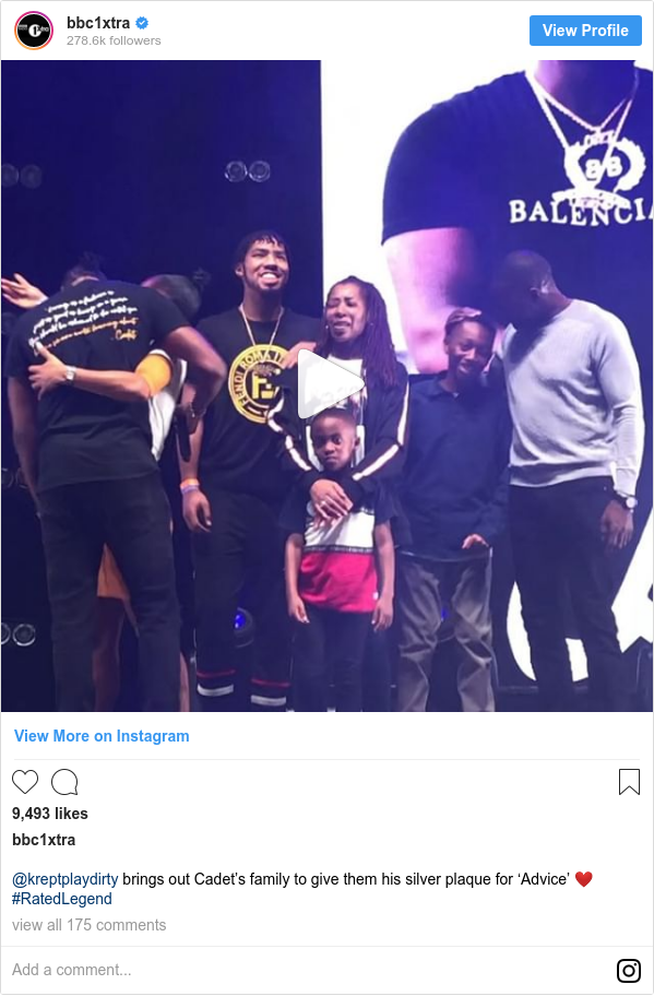 Instagram post by bbc1xtra: @kreptplaydirty brings out Cadet's family to give them his silver plaque for 'Advice' ❤️ #RatedLegend