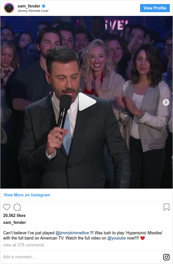 Instagram post by sam_fender: Can't believe I've just played @jimmykimmellive !!! Was lush to play 'Hypersonic Missiles' with the full band on American TV. Watch the full video on @youtube now!!!! ❤️