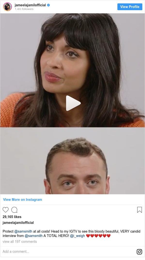 Instagram post by jameelajamilofficial: Protect @samsmith at all costs! Head to my IGTV to see this bloody beautiful, VERY candid interview from @samsmith A TOTAL HERO! @i_weigh ❤️❤️❤️❤️❤️❤️