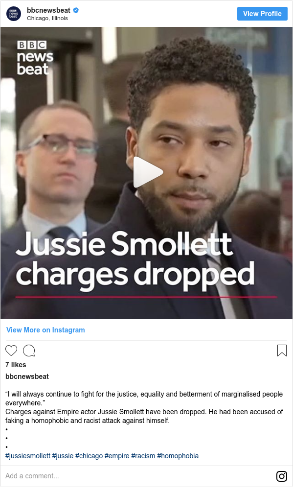 """Instagram post by bbcnewsbeat: """"I will always continue to fight for the justice, equality and betterment of marginalised people everywhere."""" Charges against Empire actor Jussie Smollett have been dropped. He had been accused of faking a homophobic and racist attack against himself. • • • #jussiesmollett #jussie #chicago #empire #racism #homophobia"""