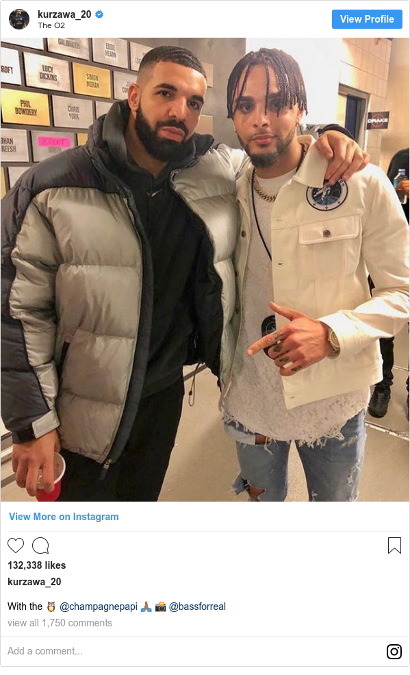 Instagram post by kurzawa_20: With the 🦉 @champagnepapi 🙏🏽 📸 @bassforreal