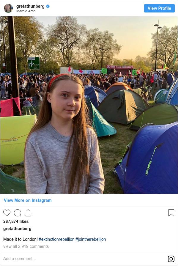 Instagram pesan oleh gretathunberg: Made it to London! #extinctionrebellion #jointherebellion