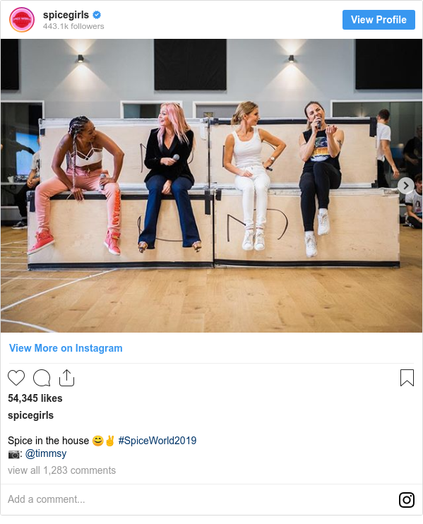 Instagram post by spicegirls: Spice in the house 😊✌️ #SpiceWorld2019 📷  @timmsy