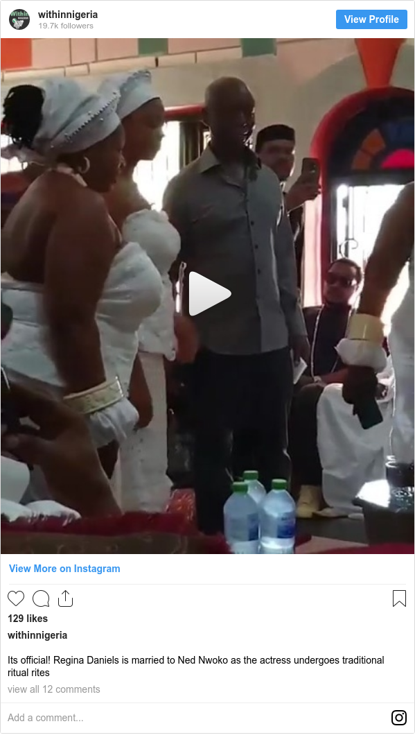 Instagram post by withinnigeria: Its official! Regina Daniels is married to Ned Nwoko as the actress undergoes traditional ritual rites