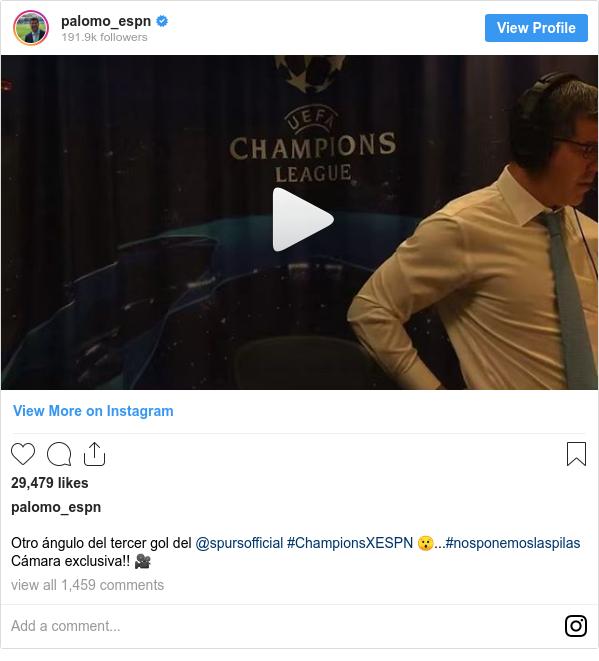 Publicación de Instagram por palomo_espn: Otro ángulo del tercer gol del @spursofficial #ChampionsXESPN 😯...#nosponemoslaspilas Cámara exclusiva!! 🎥