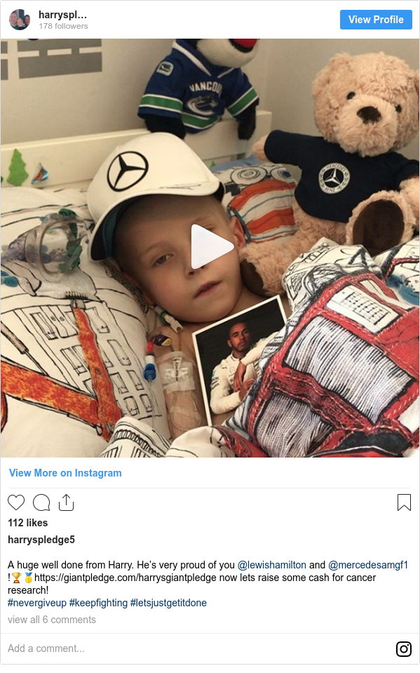 Instagram post by harryspledge5: A huge well done from Harry. He's very proud of you @lewishamilton and @mercedesamgf1 !🏆🥇https //giantpledge.com/harrysgiantpledge now lets raise some cash for cancer research! #nevergiveup #keepfighting #letsjustgetitdone