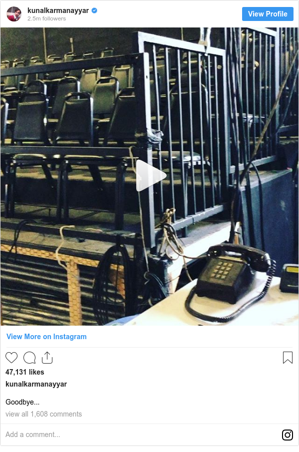 Instagram post by kunalkarmanayyar: Goodbye...