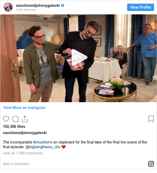 Instagram post by sanctionedjohnnygalecki: The incomparable #chucklorre on clapboard for the final take of the final live scene of the final episode. @bigbangtheory_cbs ❤️