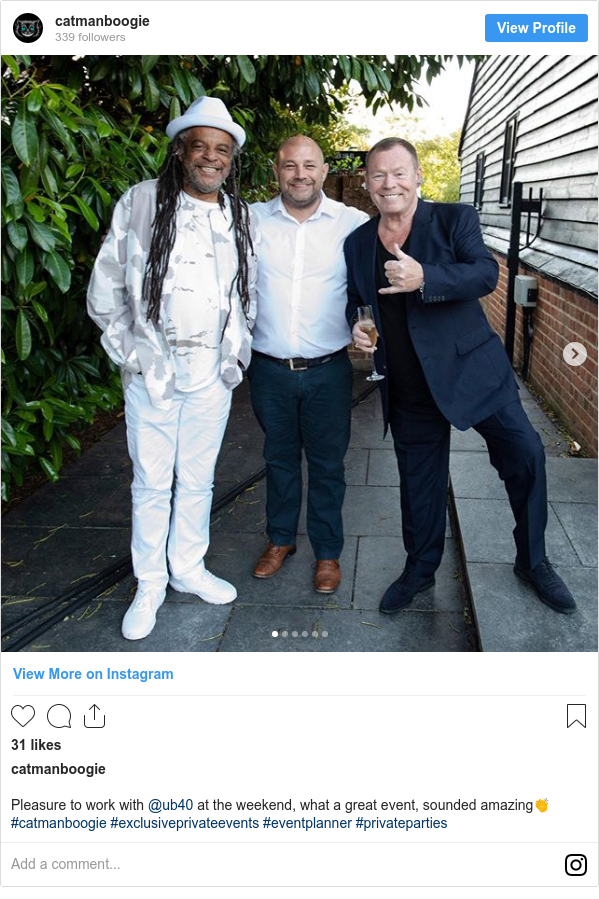 Instagram post by catmanboogie: Pleasure to work with @ub40 at the weekend, what a great event, sounded amazing👏 #catmanboogie #exclusiveprivateevents #eventplanner #privateparties