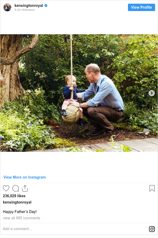 Instagram post by kensingtonroyal: Happy Father's Day!