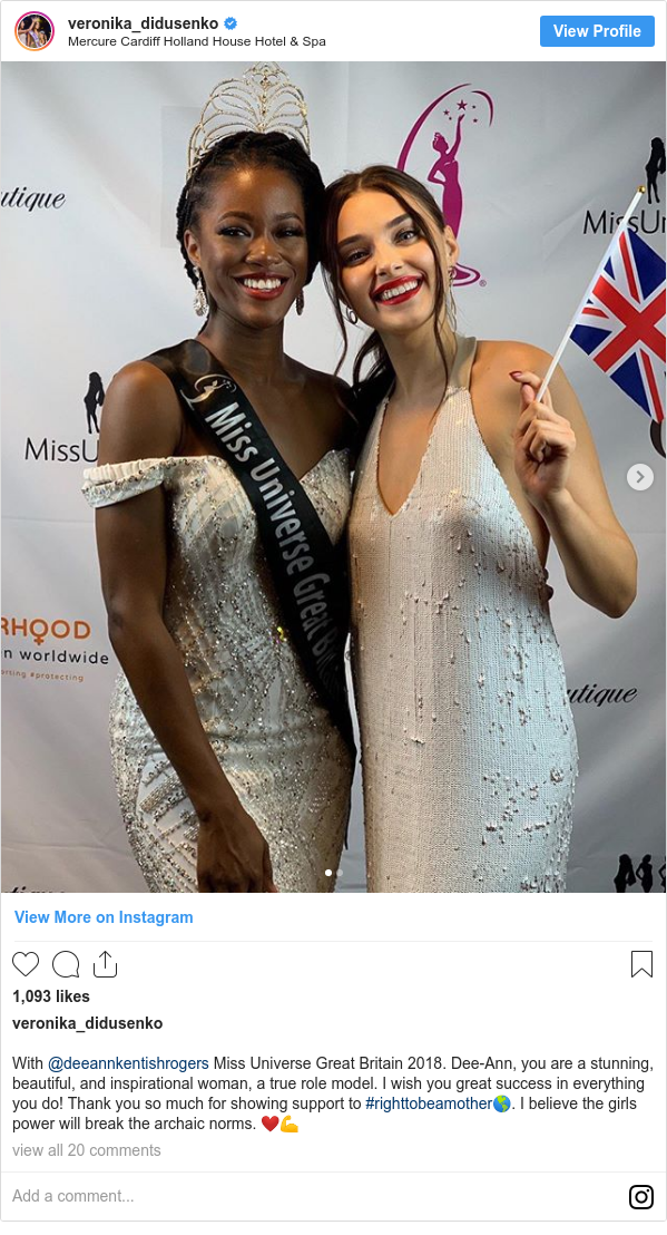 Ujumbe wa Instagram wa veronika_didusenko: With @deeannkentishrogers Miss Universe Great Britain 2018. Dee-Ann, you are a stunning, beautiful, and inspirational woman, a true role model.  I wish you great success in everything you do! Thank you so much for showing support to #righttobeamother🌎. I believe the girls power will break the archaic norms. ❤️💪