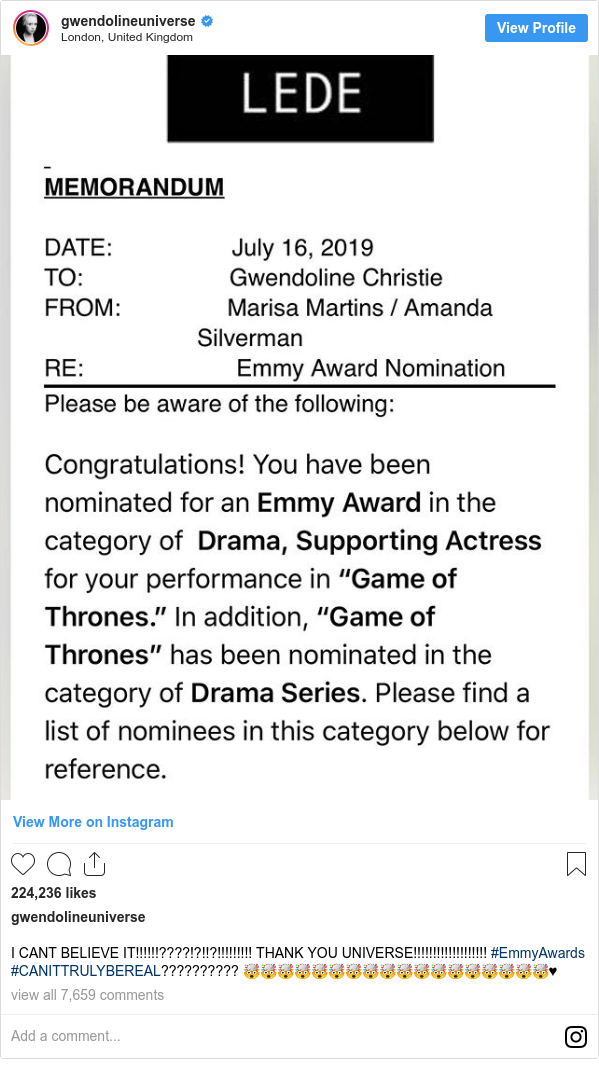 Instagram post by gwendolineuniverse: I CANT BELIEVE IT!!!!!!????!?!!?!!!!!!!!! THANK YOU UNIVERSE!!!!!!!!!!!!!!!!!!! #EmmyAwards #CANITTRULYBEREAL?????????? 🤯🤯🤯🤯🤯🤯🤯🤯🤯🤯🤯🤯🤯🤯🤯🤯🤯🤯♥️
