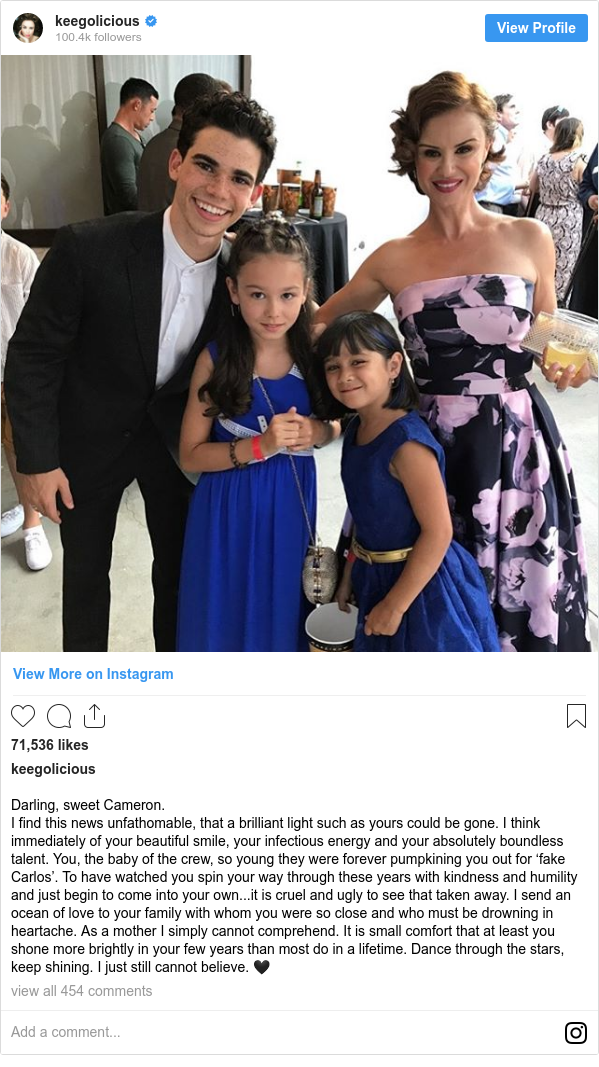 Instagram post by keegolicious: Darling, sweet Cameron.  I find this news unfathomable, that a brilliant light such as yours could be gone. I think immediately of your beautiful smile, your infectious energy and your absolutely boundless talent. You, the baby of the crew, so young they were forever pumpkining you out for 'fake Carlos'. To have watched you spin your way through these years with kindness and humility and just begin to come into your own...it is cruel and ugly to see that taken away. I send an ocean of love to your family with whom you were so close and who must be drowning in heartache. As a mother I simply cannot comprehend. It is small comfort that at least you shone more brightly in your few years than most do in a lifetime. Dance through the stars, keep shining. I just still cannot believe. 🖤
