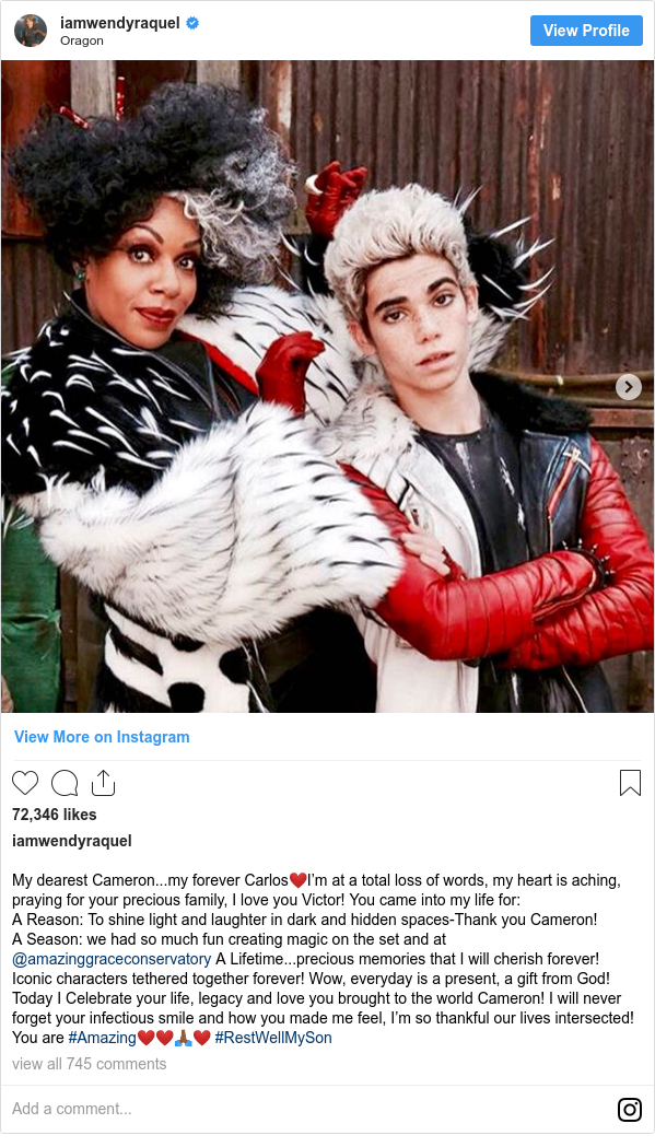 Instagram post by iamwendyraquel: My dearest Cameron...my forever Carlos❤️I'm at a total loss of words, my heart is aching, praying for your precious family, I love you Victor! You came into my life for   A Reason  To shine light and laughter in dark and hidden spaces-Thank you Cameron!  A Season  we had so much fun creating magic on the set and at @amazinggraceconservatory  A Lifetime...precious memories that I will cherish forever! Iconic characters tethered together forever! Wow, everyday is a present, a gift from God! Today I Celebrate your life, legacy and love you brought to the world Cameron! I will never forget your infectious smile and how you made me feel, I'm so thankful our lives intersected! You are #Amazing❤️❤️🙏🏾❤️ #RestWellMySon