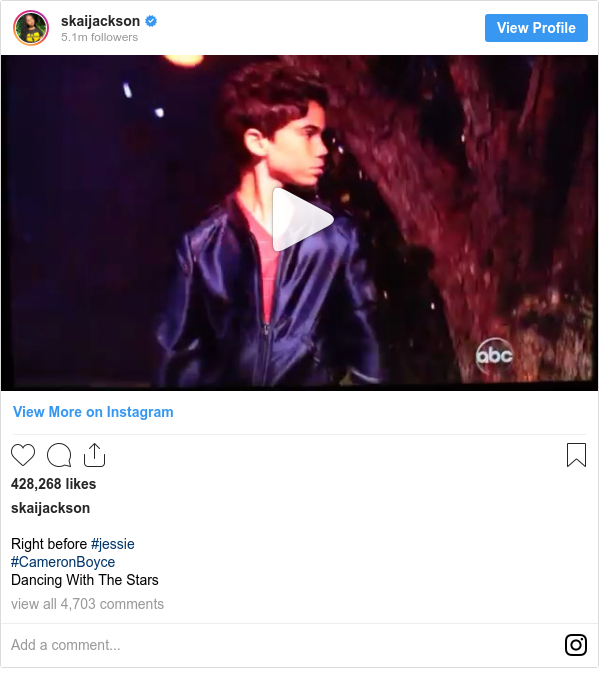 Instagram post by skaijackson: Right before #jessie  #CameronBoyce Dancing With The Stars