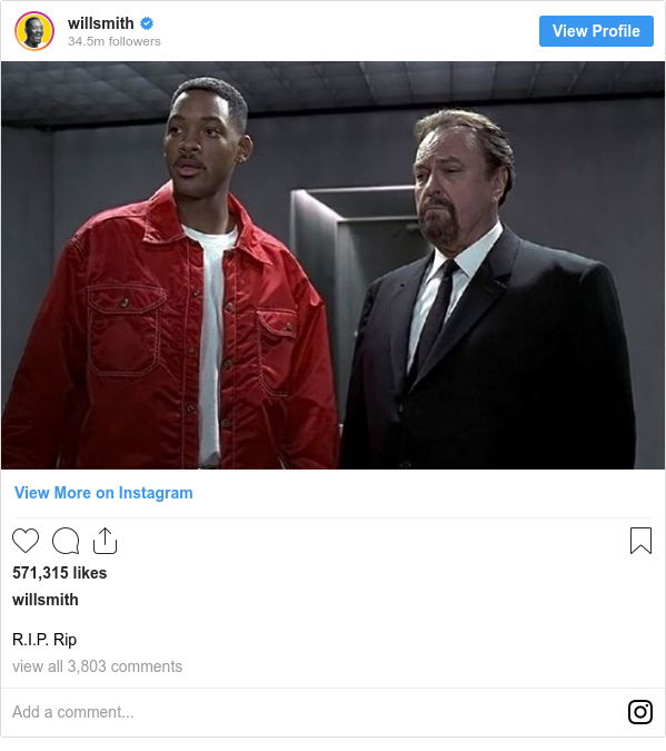 Instagram post by willsmith: R.I.P. Rip