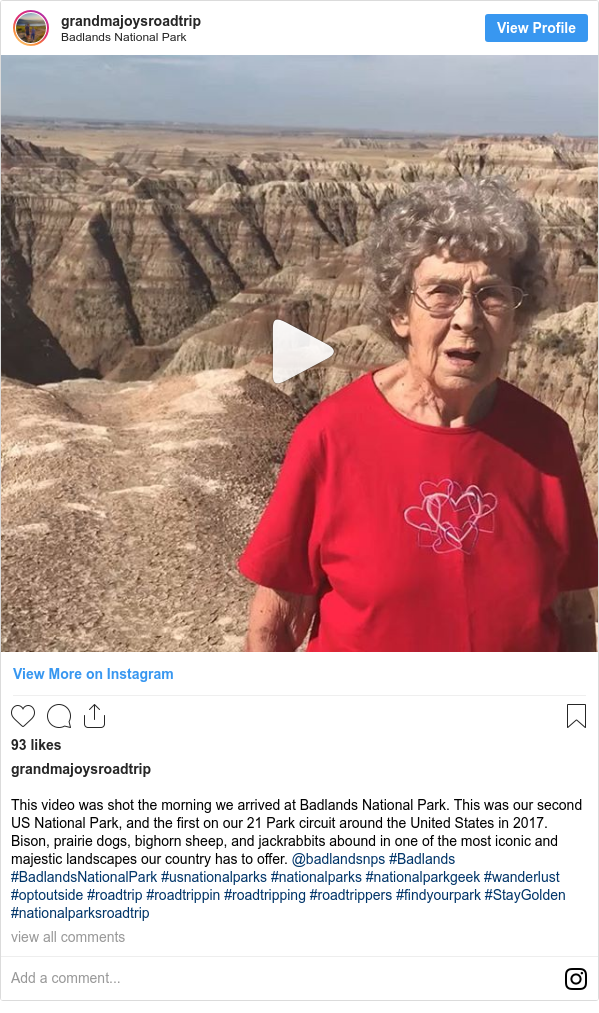 Instagram post by grandmajoysroadtrip: This video was shot the morning we arrived at Badlands National Park. This was our second US National Park, and the first on our 21 Park circuit around the United States in 2017. Bison, prairie dogs, bighorn sheep, and jackrabbits abound in one of the most iconic and majestic landscapes our country has to offer. @badlandsnps #Badlands #BadlandsNationalPark #usnationalparks #nationalparks #nationalparkgeek #wanderlust #optoutside #roadtrip #roadtrippin #roadtripping #roadtrippers #findyourpark #StayGolden #nationalparksroadtrip