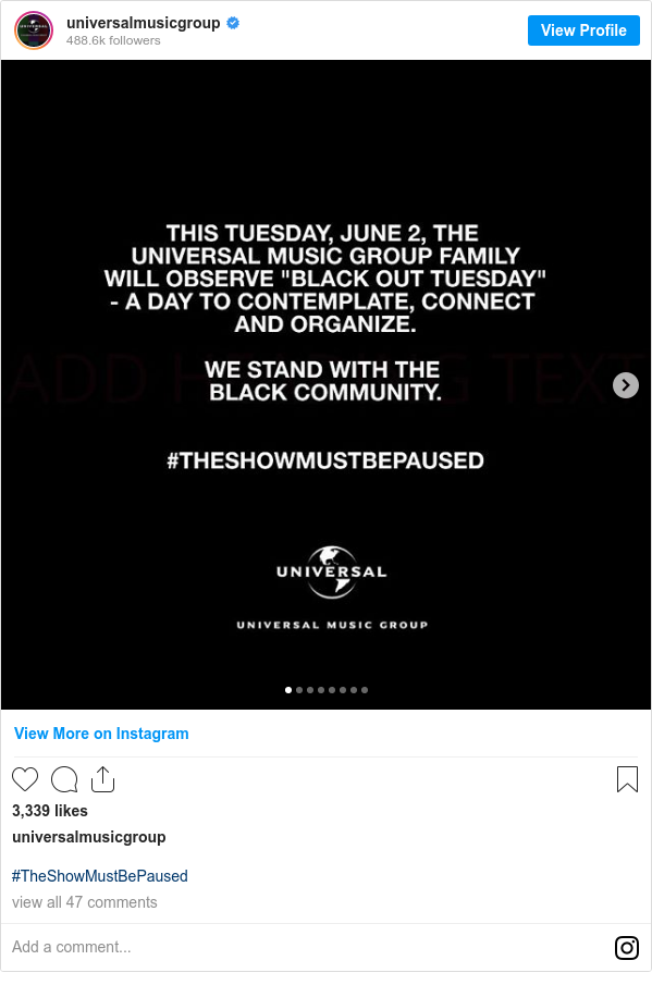 Instagram post by universalmusicgroup: #TheShowMustBePaused