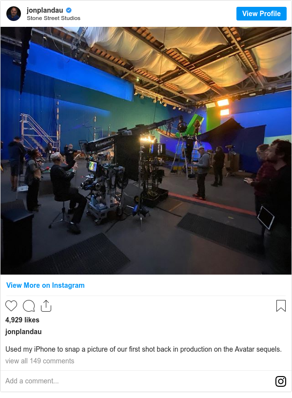 Instagram post by jonplandau: Used my iPhone to snap a picture of our first shot back in production on the Avatar sequels.