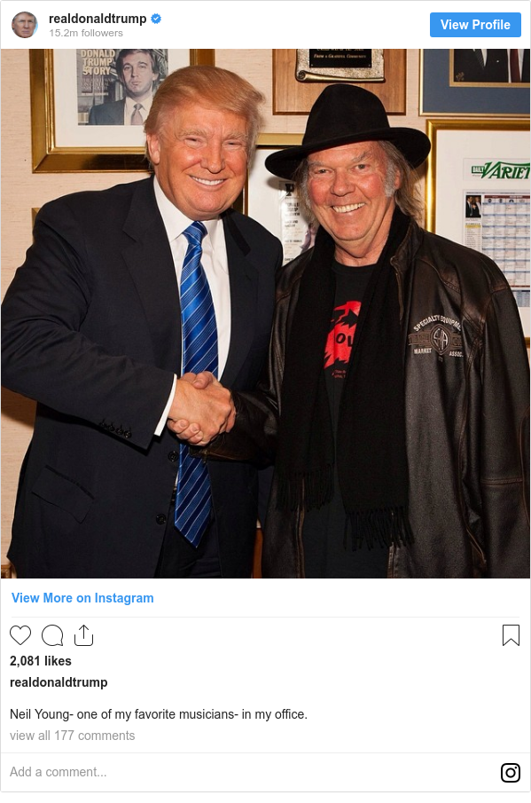 Instagram post by realdonaldtrump: Neil Young- one of my favorite musicians- in my office.
