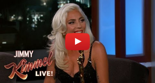 "Youtube post by Jimmy Kimmel Live: Lady Gaga on Oscar Win & Being ""In Love"" with Bradley Cooper"