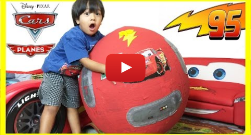 Youtube post by Ryan ToysReview: 100+ cars toys GIANT EGG SURPRISE OPENING Disney Pixar Lightning McQueen