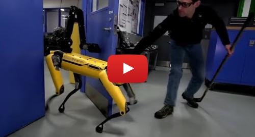 Youtube post by Guardian News: Human v robot dog  Boston Dynamics takes on its door-opening SpotMini