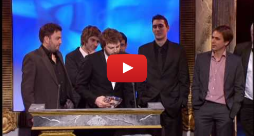 Youtube post by British Comedy Awards: Kevin Bishop throws a bottle at the Inbetweeners